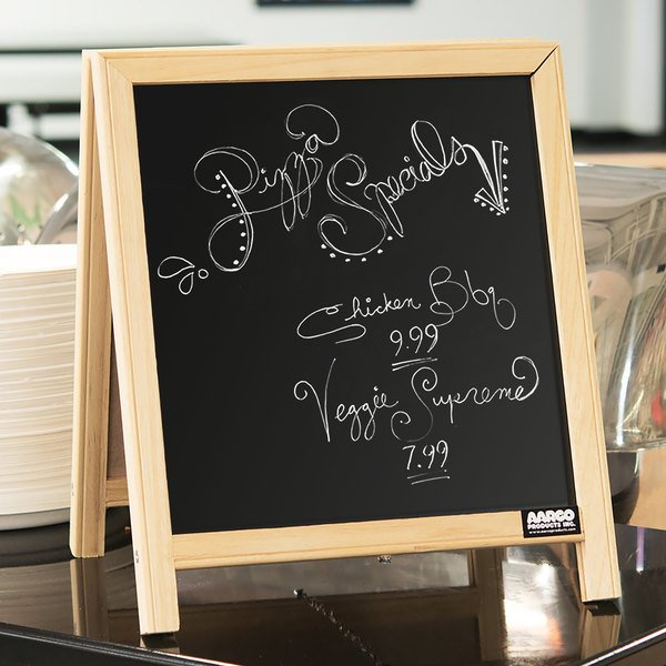 "Aarco TA-1 14"" x 12"" Tabletop A-Frame Sign with Black Chalkboard Main Image 3"