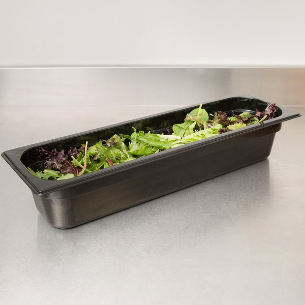 "Carlisle 10241B03 StorPlus 1/2 Size Long Black Polycarbonate Food Pan - 4"" Deep Main Image 3"