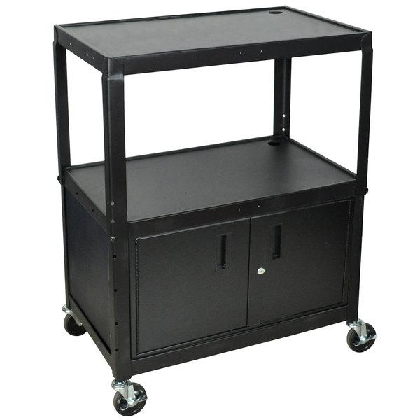 Luxor AVJ42XLC Adjustable Height Black 3 Shelf A/V Cart with Locking Cabinet Main Image 1