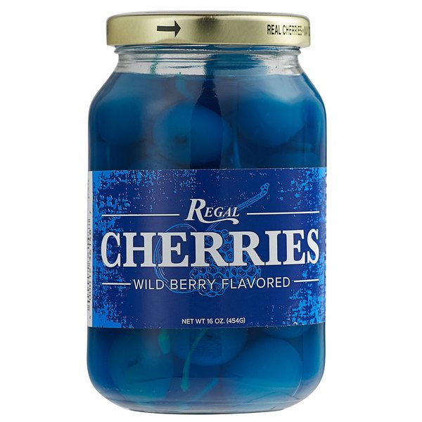 Regal 16 oz. Light Blue Maraschino Cherries with Stems Main Image 1