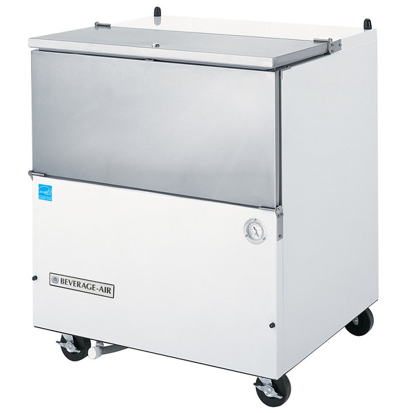 "Beverage-Air SM34N-W 34 1/2"" White 1-Sided Cold Wall Milk Cooler Scratch and Dent"