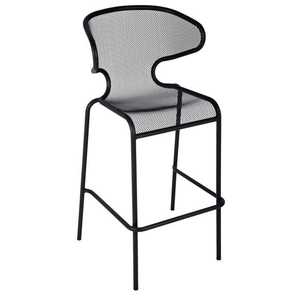 BFM Seating DV560BL Maze Black Stackable Steel Outdoor / Indoor Bar Height Armchair