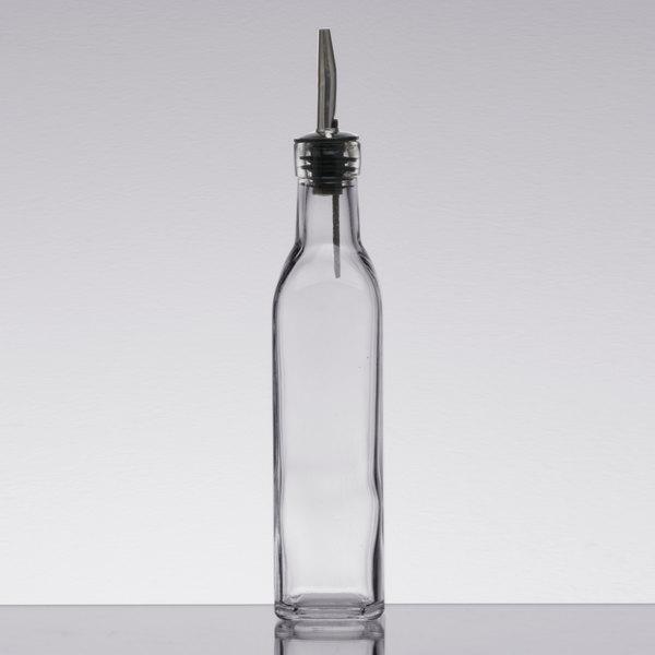 6 x Glass Oil//Vinegar//Source Dispenser//Cruet//Pourer With Coloured Metal Cover