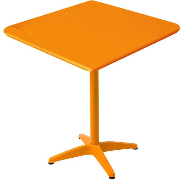 "BFM Seating MSB2432CTT Beachcomber 24"" x 32"" Citrus Aluminum Outdoor Bar Height Table Main Image 1"