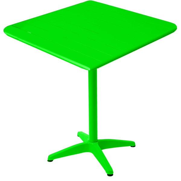 """BFM Seating MSB2432LMT Beachcomber 24"""" x 32"""" Lime Aluminum Outdoor Bar Height Table"""