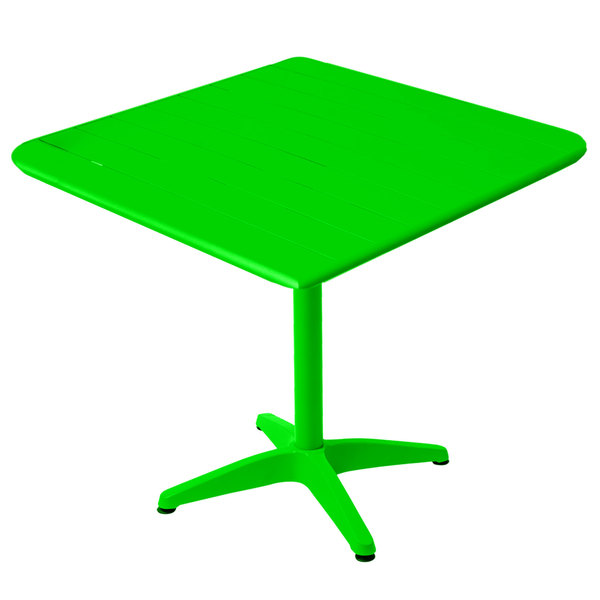 """BFM Seating MSB3232LM Beachcomber 32"""" Square Lime Aluminum Outdoor Table Main Image 1"""