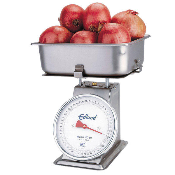 "Edlund HD-50P Heavy Duty 50 lb. Produce Scale with Cradle and 4"" Half Pan"