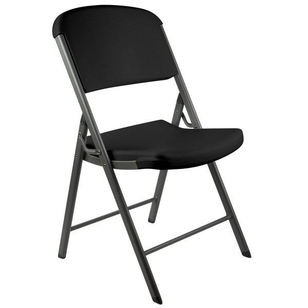 Wondrous Lifetime 80187 Black Contoured Folding Chair 4 Pack Pdpeps Interior Chair Design Pdpepsorg