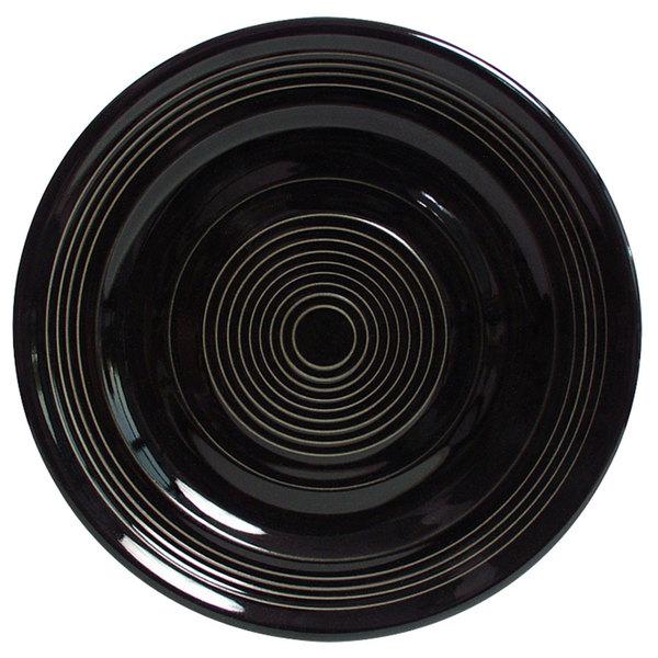 """Tuxton CBA-104 Concentrix 10 1/2"""" Black China Plate - 12/Case"""