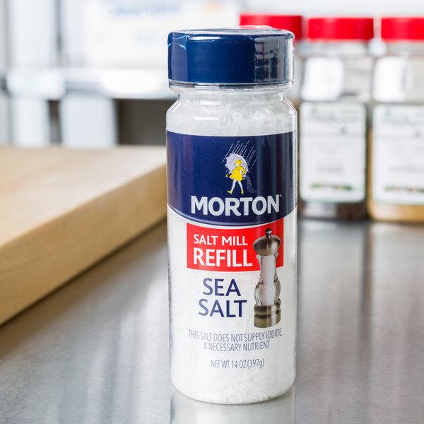 Morton 14 oz. Extra Coarse Sea Salt Grinder Refill - 12/Case Main Image 2
