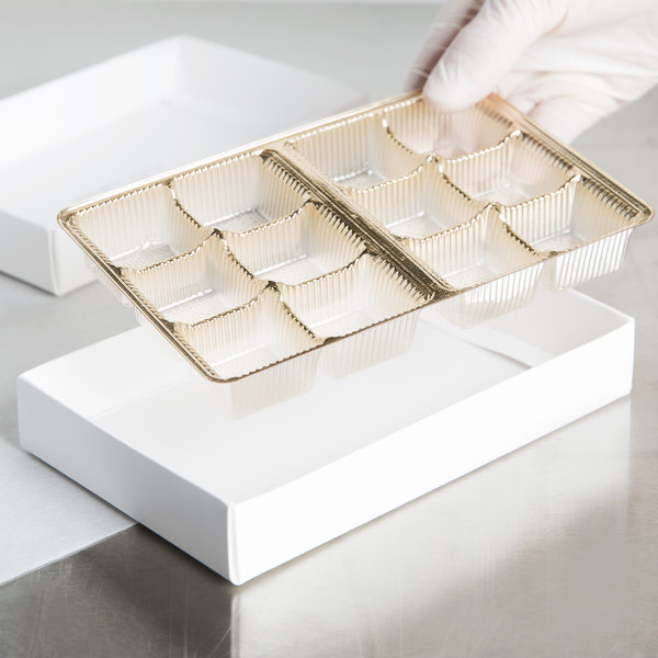 "6 7/8"" x 4 1/4"" x 7/8"" Gold 12-Cavity Candy Tray - 250/Case"