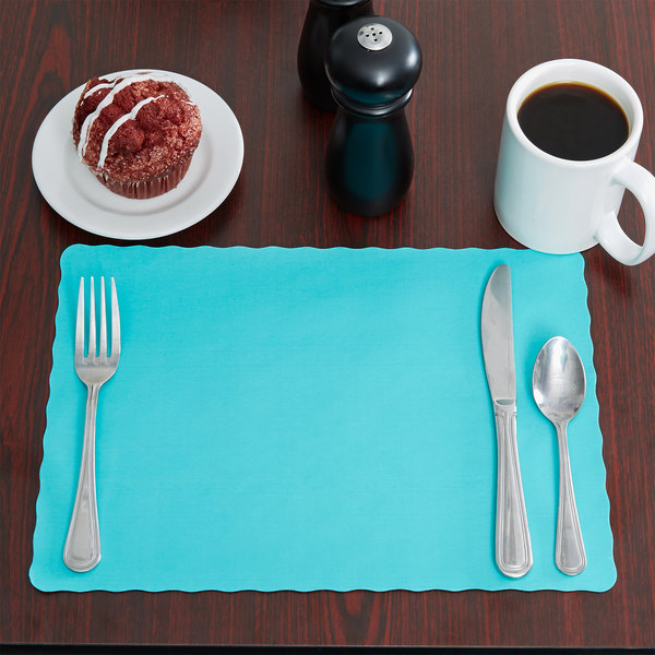 "10"" x 14"" Teal Colored Paper Placemat with Scalloped Edge - 1000/Case"