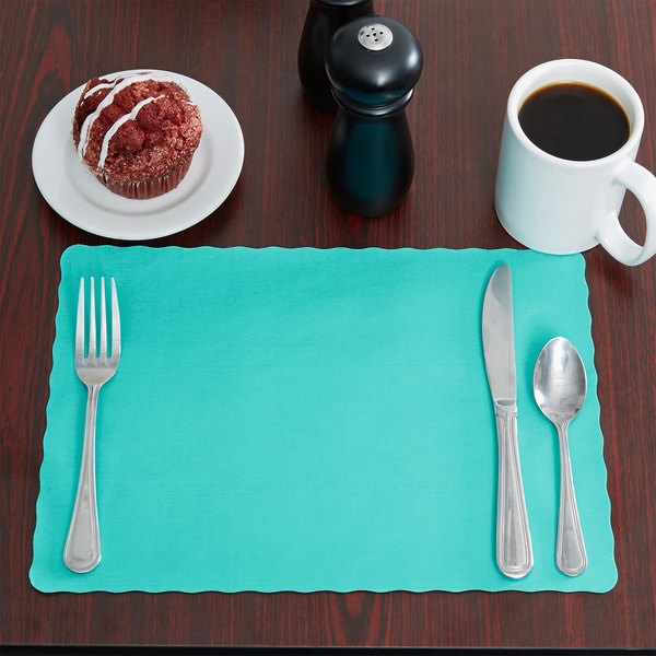 """Choice 10"""" x 14"""" Teal Colored Paper Placemat with Scalloped Edge - 1000/Case Main Image 3"""