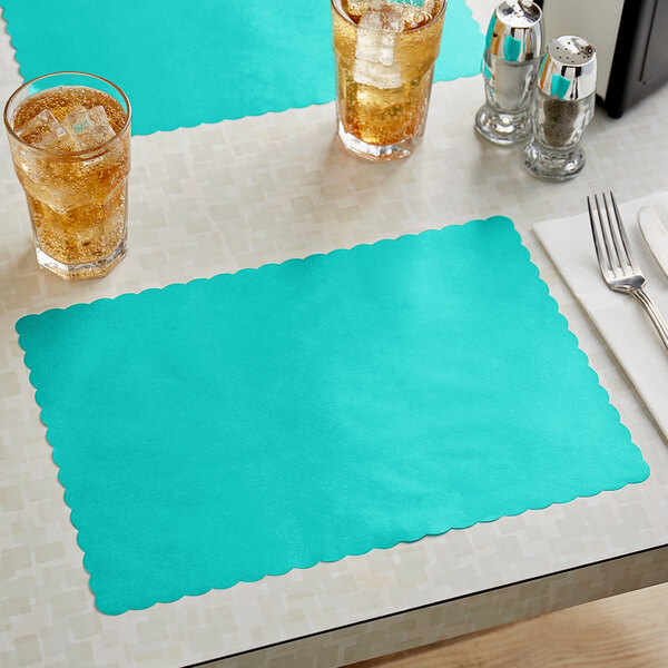 """Choice 10"""" x 14"""" Teal Colored Paper Placemat with Scalloped Edge - 1000/Case Main Image 2"""