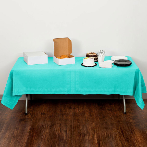 "Creative Converting 324764 54"" x 108"" Teal Lagoon Tissue / Poly Table Cover - 6/Case"