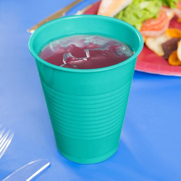 Creative Converting 324775 16 oz. Teal Lagoon Plastic Cup - 240/Case Main Image 3