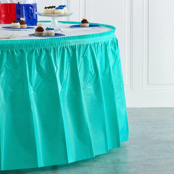 "Creative Converting 324768 14' x 29"" Teal Lagoon Plastic Table Skirt Main Image 4"