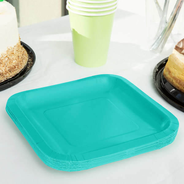 """Creative Converting 324781 7"""" Square Teal Lagoon Paper Plate - 180/Case"""