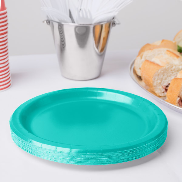 """Creative Converting 324782 10"""" Teal Lagoon Paper Plate - 240/Case Main Image 2"""