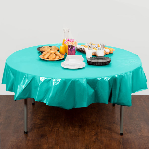 """Creative Converting 324765 82"""" Teal Lagoon OctyRound Plastic Table Cover - 12/Case Main Image 3"""