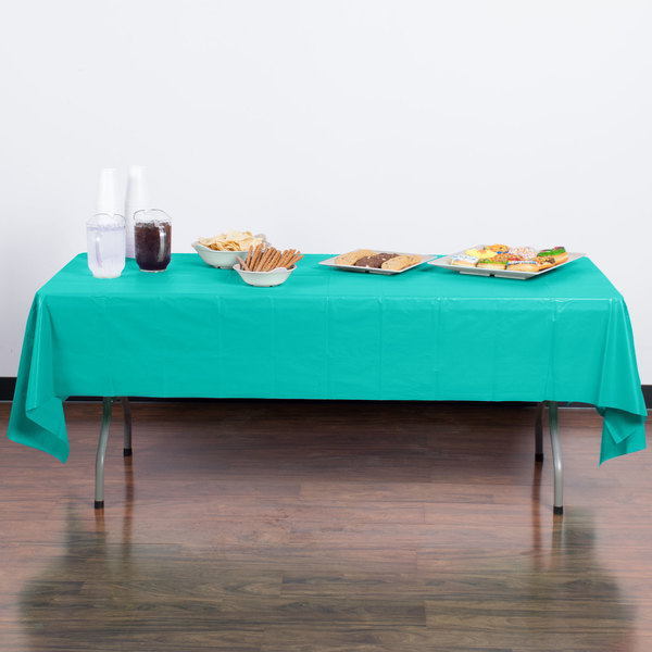 """Creative Converting 324789 54"""" x 108"""" Teal Lagoon Plastic Table Cover - 12/Case Main Image 3"""