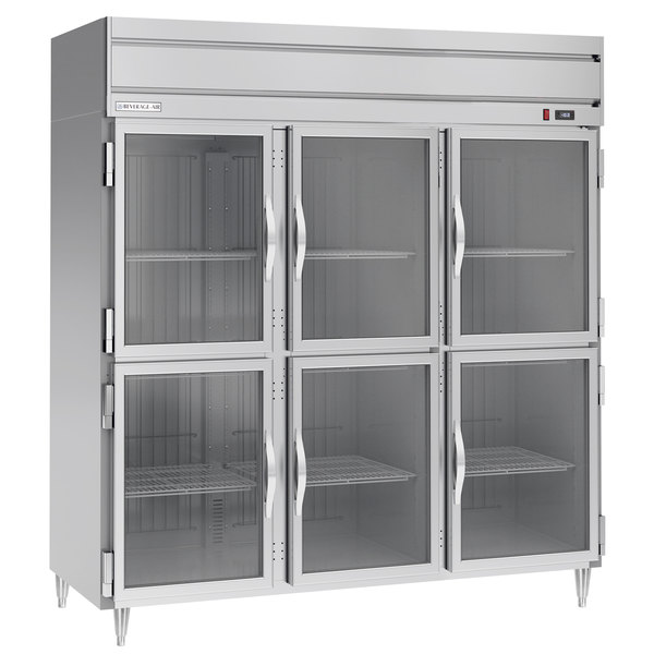 Beverage-Air HFPS3-5HG 3 Section Glass Half Door Reach-In Freezer - 74 cu. ft., Stainless Steel Exterior / Interior - Specification Series Main Image 1