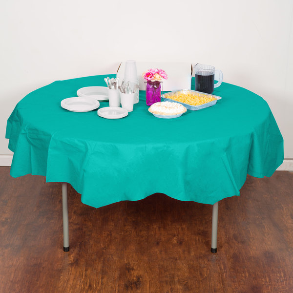 "Creative Converting 324791 82"" Teal Lagoon OctyRound Tissue / Poly Table Cover - 12/Case"