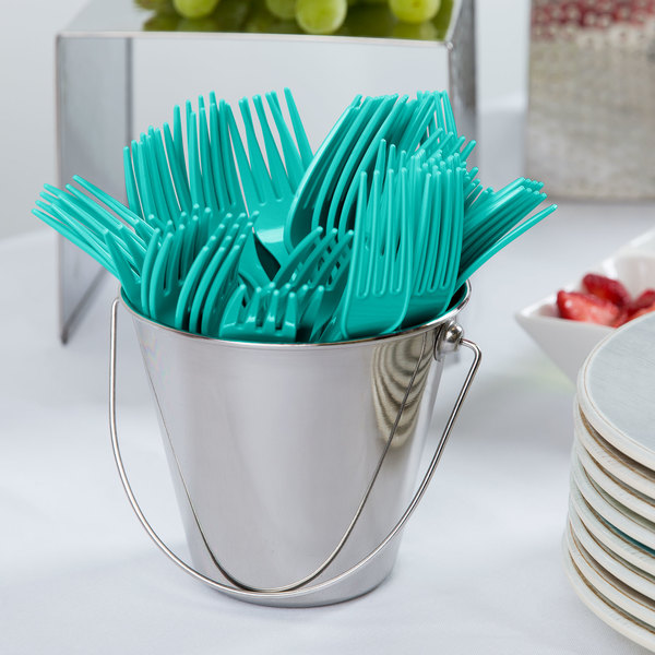 """Creative Converting 324786 7 1/8"""" Teal Lagoon Heavy Weight Plastic Fork - 288/Case Main Image 2"""