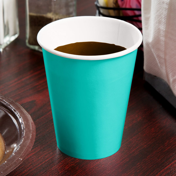 Creative Converting 324783 9 oz. Teal Lagoon Poly Paper Hot / Cold Cup - 240/Case Main Image 2