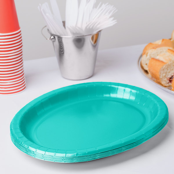 "Creative Converting 324773 12"" x 10"" Oval Teal Lagoon Paper Platter - 8/Pack"