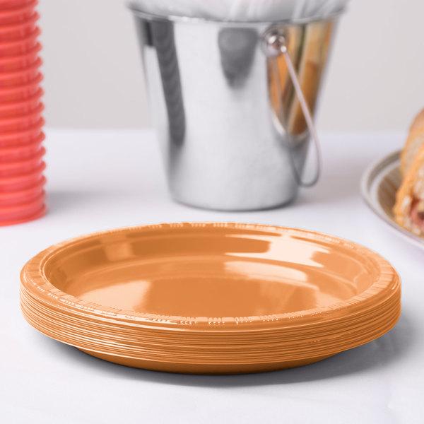 "Creative Converting 324811 7"" Pumpkin Spice Plastic Plate - 240/Case Main Image 2"