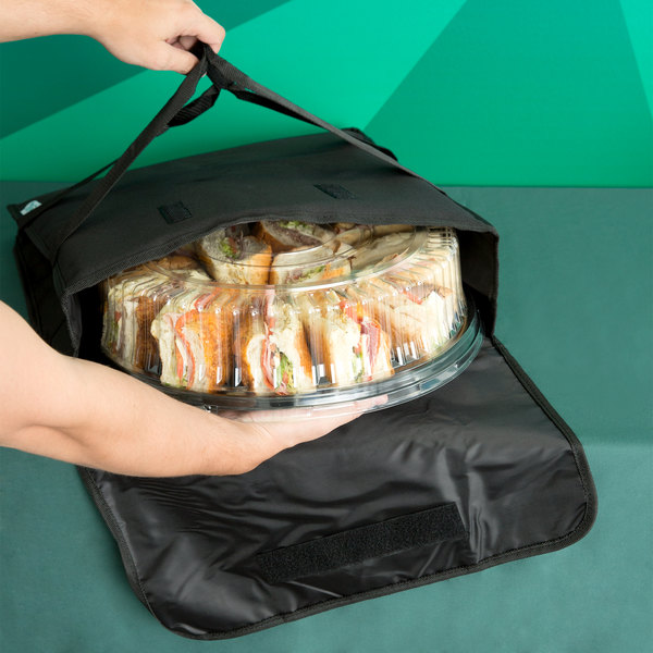 "Choice Insulated Deli Tray / Party Platter Bag, Black Nylon, 18"" x 18"" x 5"""