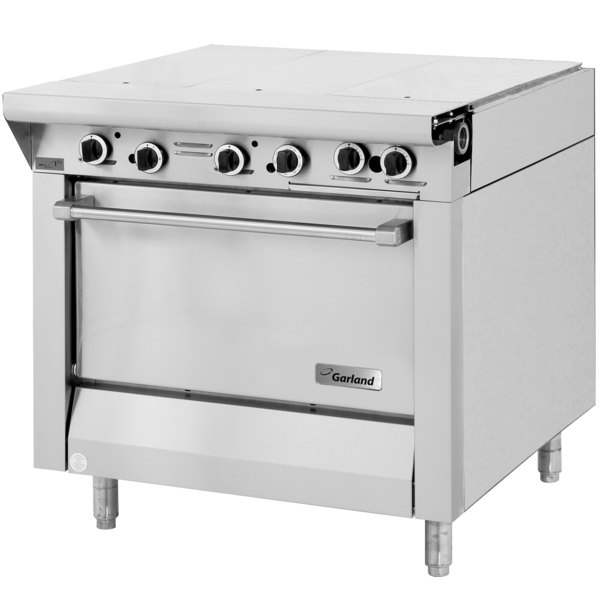 "Garland M43-3R Master Series Liquid Propane 3 Section 34"" Even Heat Hot Top Range with Standard Oven - 101,000 BTU"