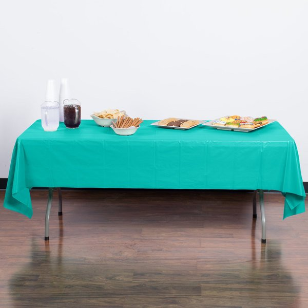 "Creative Converting 324789 54"" x 108"" Teal Lagoon Plastic Table Cover"