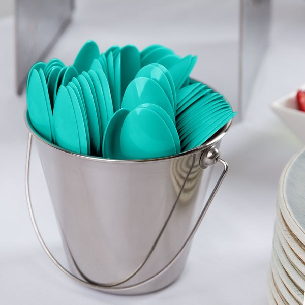 """Creative Converting 324785 6 1/8"""" Teal Lagoon Heavy Weight Plastic Spoon - 24/Pack"""