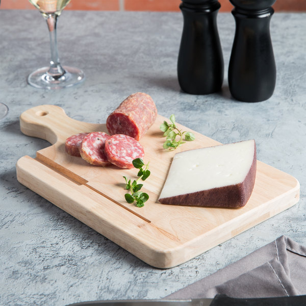 """Choice 13 1/2"""" x 7 1/2"""" x 3/4"""" Medium Wooden Bread / Charcuterie Cutting Board with Knife Slot and Handle"""
