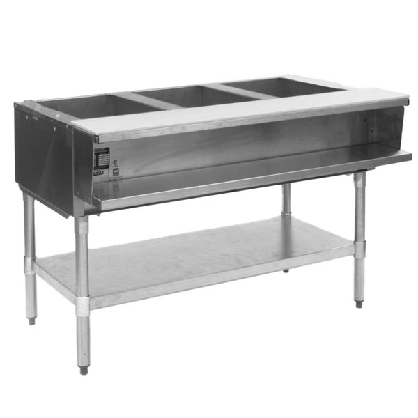 Eagle Group AWTP3 Natural Gas Three Pan Sealed Well Water Bath Steam Table with Galvanized Legs and Safety Pilot
