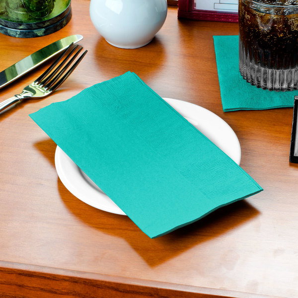 Teal Lagoon Dinner Napkin, 2-Ply 1/8 Fold - Creative Converting 324790 - 50/Pack