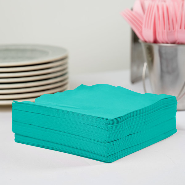 Creative Converting 324771 3-Ply Teal Lagoon 1/4 Fold Luncheon Napkin - 50/Pack