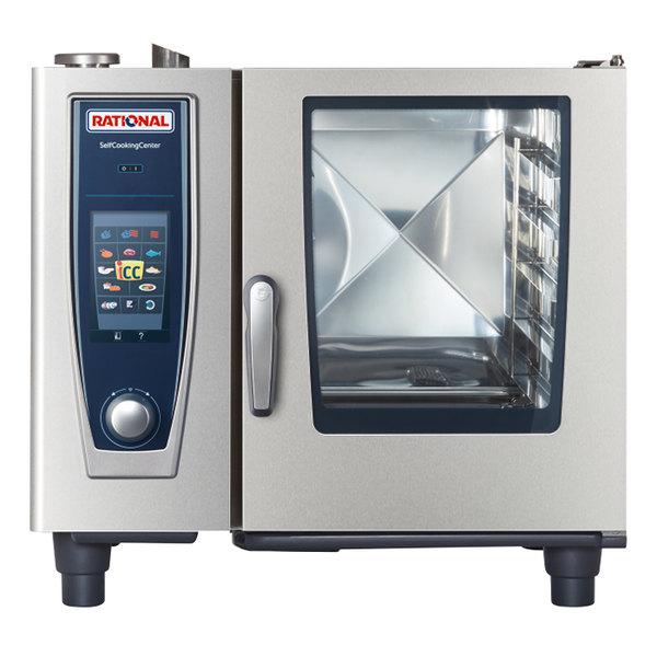 Rational B618206.19E SelfCookingCenter XS Model 61 Natural Gas Single Deck Half Size Combi Oven - 208V, 49,000 BTU Main Image 1