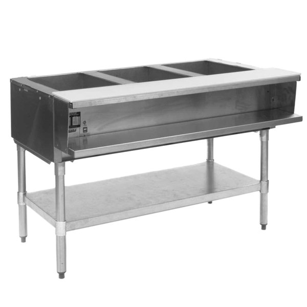 Eagle Group ASWT3 Natural Gas Three Pan Sealed Well Water Bath Steam Table with Stainless Steel Legs Main Image 1