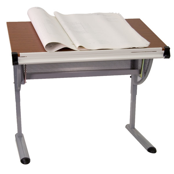 "Flash Furniture NAN-JN-2433-GG 42 1/4"" x 28 1/4"" Adjustable Drawing and Drafting Table with 3/4"" Cherry Melamine Top and Laminate Finish Main Image 1"