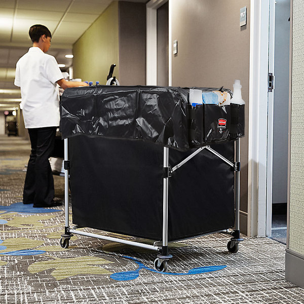 Rubbermaid Laundry Cart, 8 Bushel Collapsible X-Cart with Large Black Cover