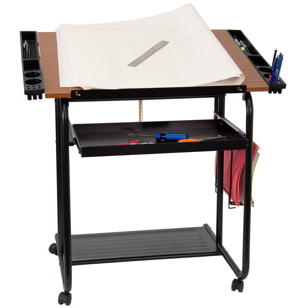"Flash Furniture NAN-JN-2739-GG 30"" x 24"" Adjustable Drawing and Drafting Table with 3/4"" Cherry Melamine Top, Laminate Finish, and Dual Wheel Casters"