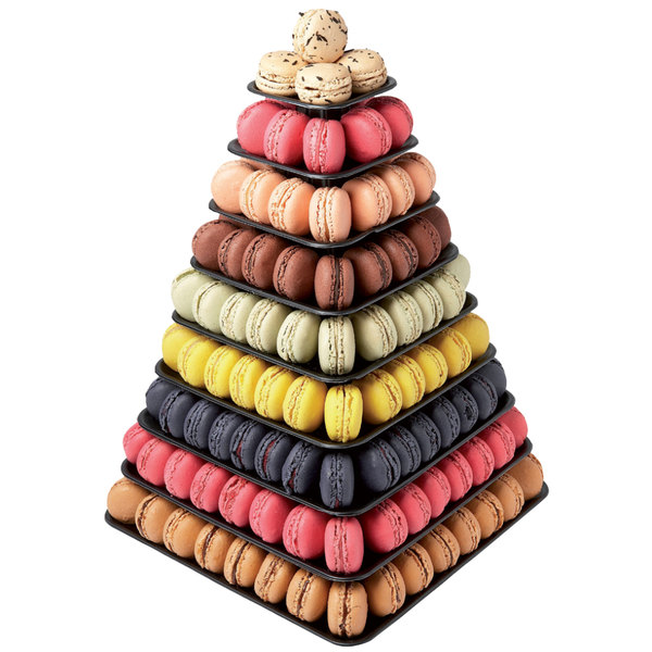 Matfer Bourgeat 681592 9-Tier Black Macaroon Pyramid Display Stand