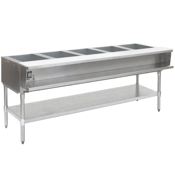 Eagle Group ASWT5 Liquid Propane Five Pan Sealed Well Water Bath Steam Table with Stainless Steel Legs
