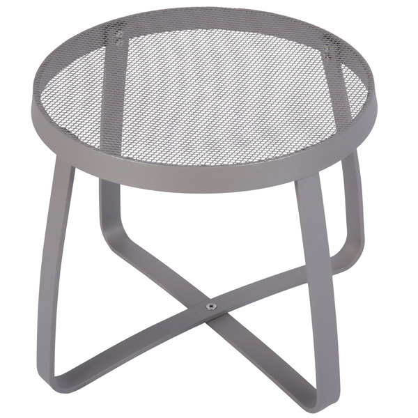 "BFM Seating DVL18R-TS Maze 18"" Round Titanium Silver Steel Side Table Main Image 1"