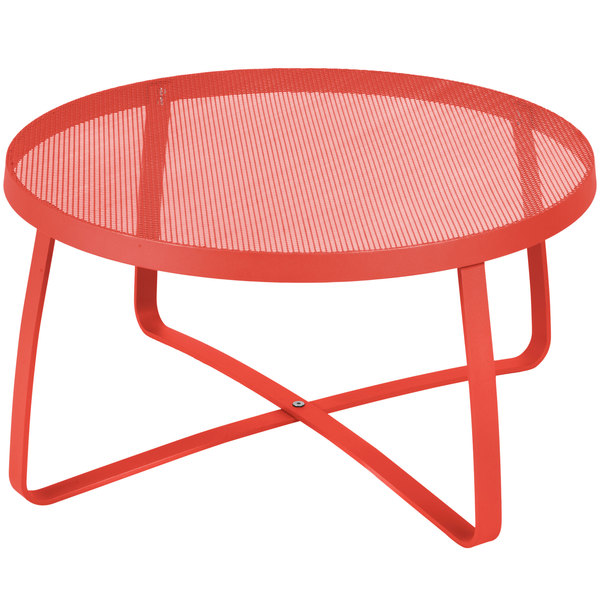 "BFM Seating DVL30R-GE Maze 30"" Round Grenadine Steel Lounge Table"