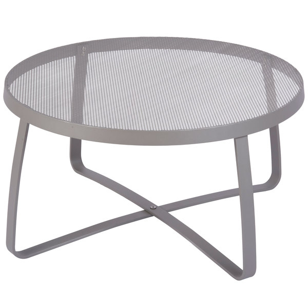 """BFM Seating DVL30R-TS Maze 30"""" Round Titanium Silver Steel Lounge Table"""