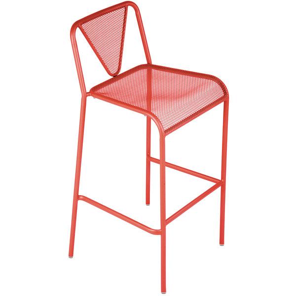 BFM Seating DV555GE Venice Beach Grenadine Stackable Steel Bar Height Chair Main Image 1